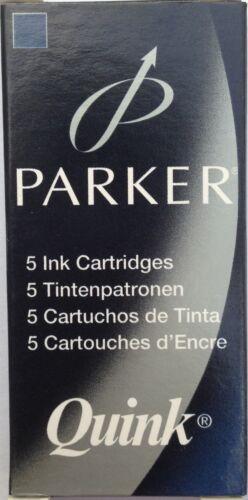 20xPARKER QUINK FOUNTAIN PEN CARTRIDGES GENUINE-BLACK,BLUE,BLUE//BLACK-4 X 5 PACK