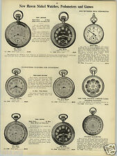 1923 PAPER AD New Haven Pocket Watch Parlor Game Piece Roulette Society Radium