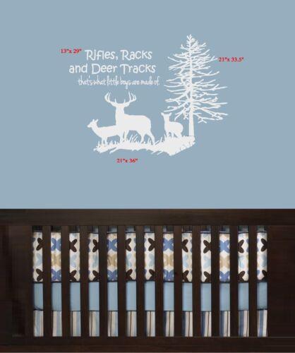 Avec Cerf et arbre #4 ~ ou mural fenêtre Decal FUSILS racks et Deer pistes
