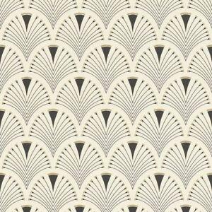 Retro-Art-Deco-Fan-Arch-Design-Black-Cream-Wallpaper-Vinyl-Paste-Wall-Glitter