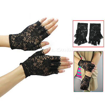 Lady Girl Black Sexy Dressy Lace Party Costume Gloves Finger Fingerless Glove