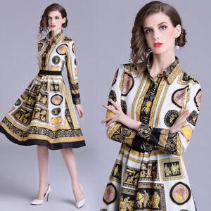2019 Women Shirt Blouse+Skirt Print Luxury Suits Female 2//PCS Spring Designer