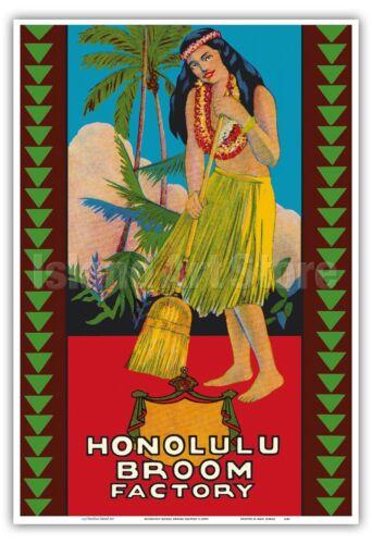 Hula Girl 1950s Vintage Label Poster Print Honolulu Hawaii Broom Factory