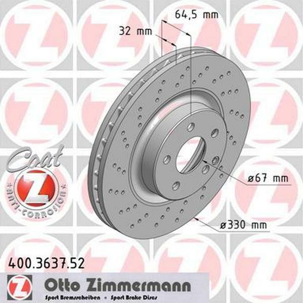 2x BOSCH Bremsscheiben vorne Belüftet 330mm Für MERCEDES-BENZ CLS 0 986 479 332