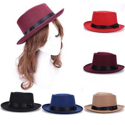 892b1cdca Men Women Vintage Boater Sailor Wide Brim Fedora Felt Trilby Flat-topped  Hat Ws | eBay