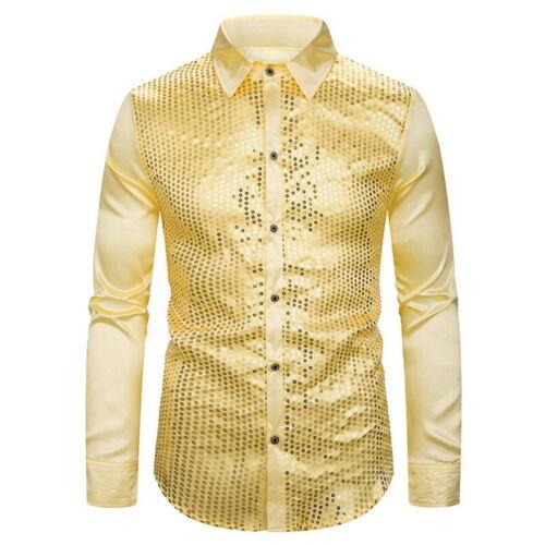 Sequin Shirt Men Long Sleeve Button Dress Prom Shirt Chorus Host Shirts