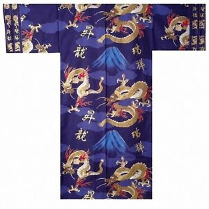 DM-S00893-02-NV-YUKATA-with-Obi-M-58-034-Made-in-JAPAN-MEN-039-s-Kimono-Japanese-HAPPI
