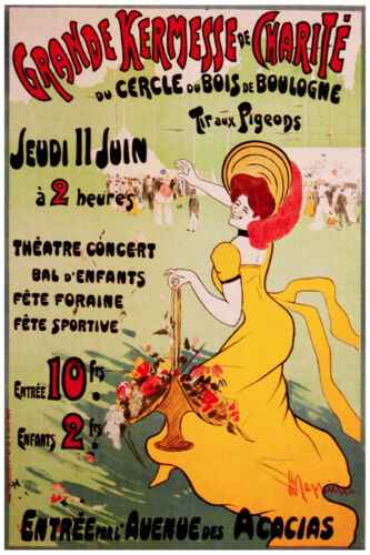 2591.Charity Carnival in France-Paris POSTER.Yellow dress happy girl.Nouveau art