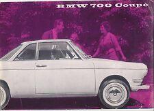 BMW 700 Saloon & Coupe 1959-60 Original UK Foldout Sales Brochure Pub No W181e