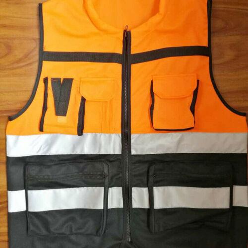 Hi-Vis Safety Vest Reflective Jacket Security Waistcoat W// Zipper Pocket L-XXXL