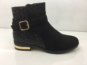 LADIES-WOMENS-BLACK-ANKLE-HIGH-LOW-HEEL-GLITTER-SUEDE-FAUX-BOOTS-SHOES-SIZE-4