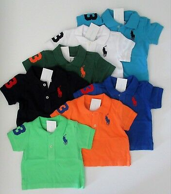 Infant Baby Boy Ralph Lauren Polo Big Pony Long SleevePolo  Shirt 18M White