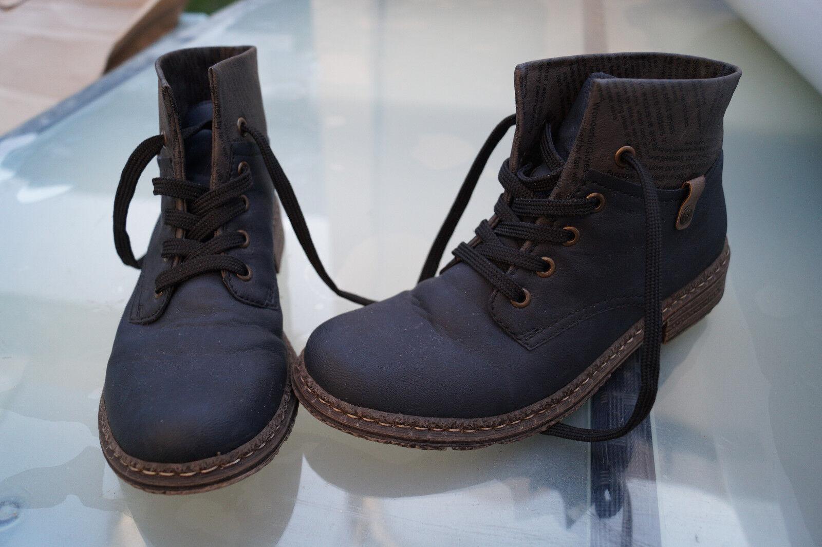 RIEKER Damen Winter Gr.38 Schuhe Stiefel Stiefeletten Boots Gr.38 Winter marine wie Neu #49 766b34