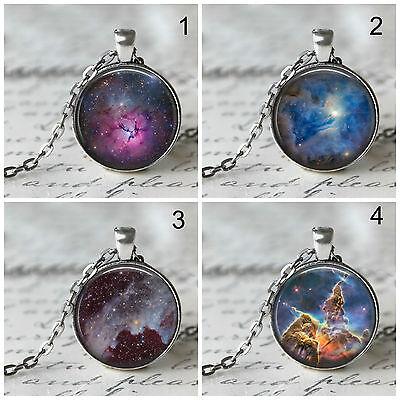 25mm Silver Space Nebula Galaxy Universe Necklace, Hubble Image, Glass Photo