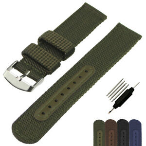 Fabric-Woven-Nylon-Watch-Strap-Band-Silver-Buckle-Replacement-Belt-18-20-22-24mm