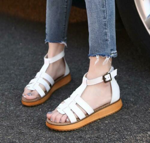 Ladies Gladiator Hollow out Strappy Open Toe Creepers Sandals Platform Shoes New