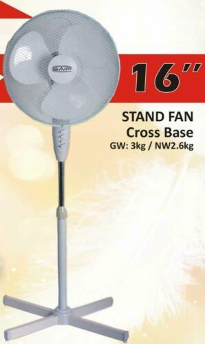 "16/"" STAND FAN WHITE PEDESTAL CROSS BASE"