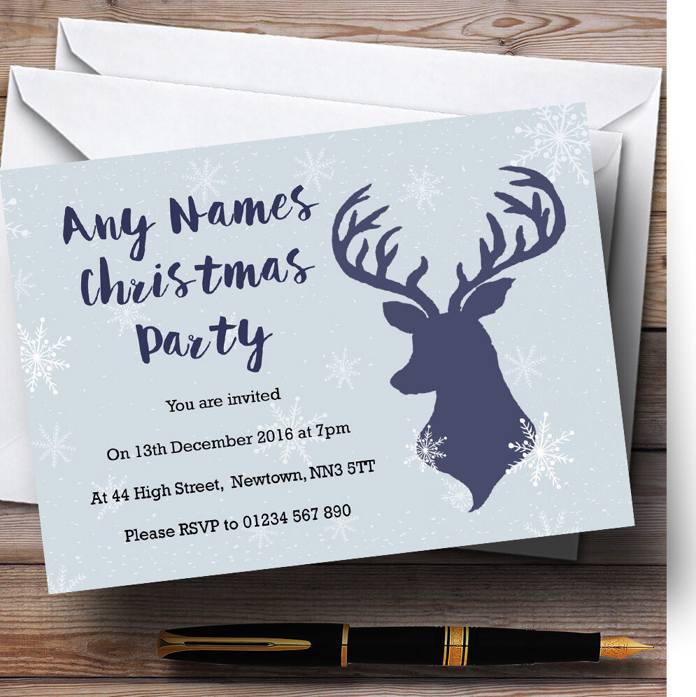 Blau Stag and Snowflakes Personalised Christmas Party Invitations