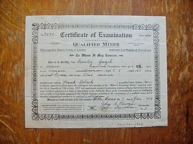 examining certificate board luzerne miners examination 1950 pa county
