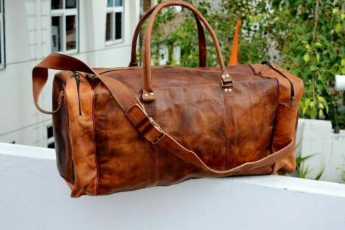 Leather Goat Bag Travel Gym Luggage Duffel Men Vintage Genuine Bags Brown Tote