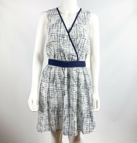 Dress Faux Wrap Blu taglia Hawthorn Nuovo senza Womens 41 zecca scuro di Xs bianco maniche YPvExxt