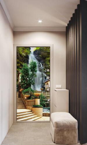 3D Self-adhesive European Waterfall Self-adhesive Door Sticker Murals Wallpaper