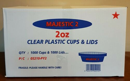300 x Clear Plastic 2oz Tubs With Lids MAJESTIC Containers Cups Pots and Lids