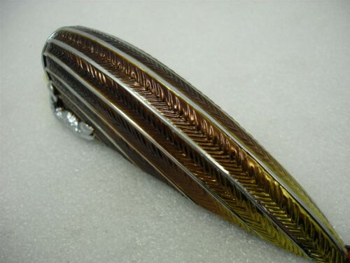 LIGHT LAMP FENDER HOOD INDIAN FACE FEATHERS AMBER LENS CHROME GOLD TONE