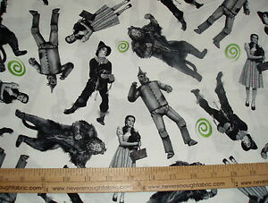 Cotton-Fabric-75-years-of-Wickedness-cast-of-Wizard-of-OZ-on-white-BTY