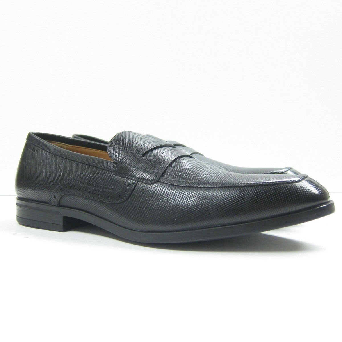 P-380186 New Bally Black Calf Print Washed Dress Loafers shoes Size US 11 EUR 44