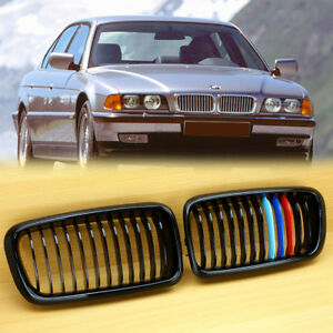 ae721dd9167 Gloss Black    M Color BMW E38 4DR Front Kidney Grilles Grill 740i ...