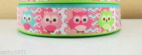 NEW Colourful Owl Grossgrain Ribbon 22mm U Choose 1M,2M,3M,4M or 5M
