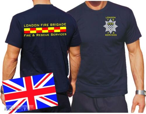 London Fire Brigade Fire /& Rescue Services T-Shirt navy
