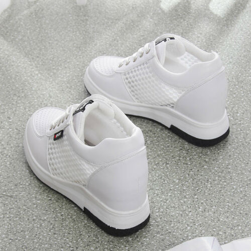 Women/'s Casual Mesh Hidden Wedge Heel Lace Up Sneakers Athletic Shoes Breathable