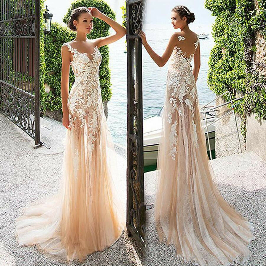 Med Lace Appliques Evening Dress Sheath See -through Prom bröllop Gown