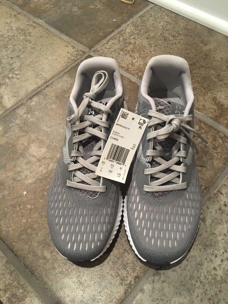 Adidas Aerobounce Grey/Silver/White Men Running Shoes Sneakers Size 7 (CG4656)