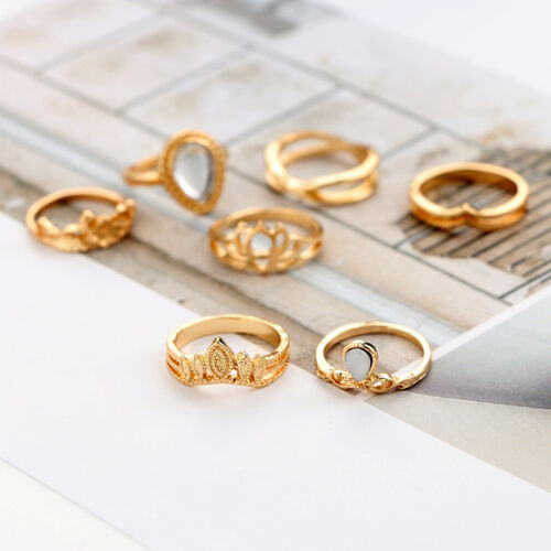 10Pcs//Set Retro Arrow Moon Midi Finger Knuckle Rings Boho Fashion Jewelry Gift