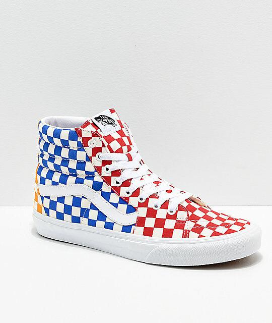 Vans Sk8 Hi Checkboard röd blå gul herr kvinnor skor Storlek Tillgänglig