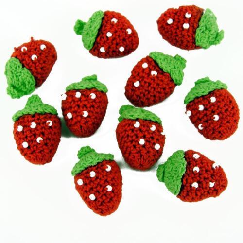 Handmade pk of 4 Crochet Strawberries Red White Beads DIY Craft Sewing Deco CR60