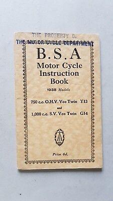 Dedito Bsa 750 Ohv Y13 - 1000 Sv G14 1938 Manuale Uso Moto Testo Inglese Originale Pacchetti Alla Moda E Attraenti