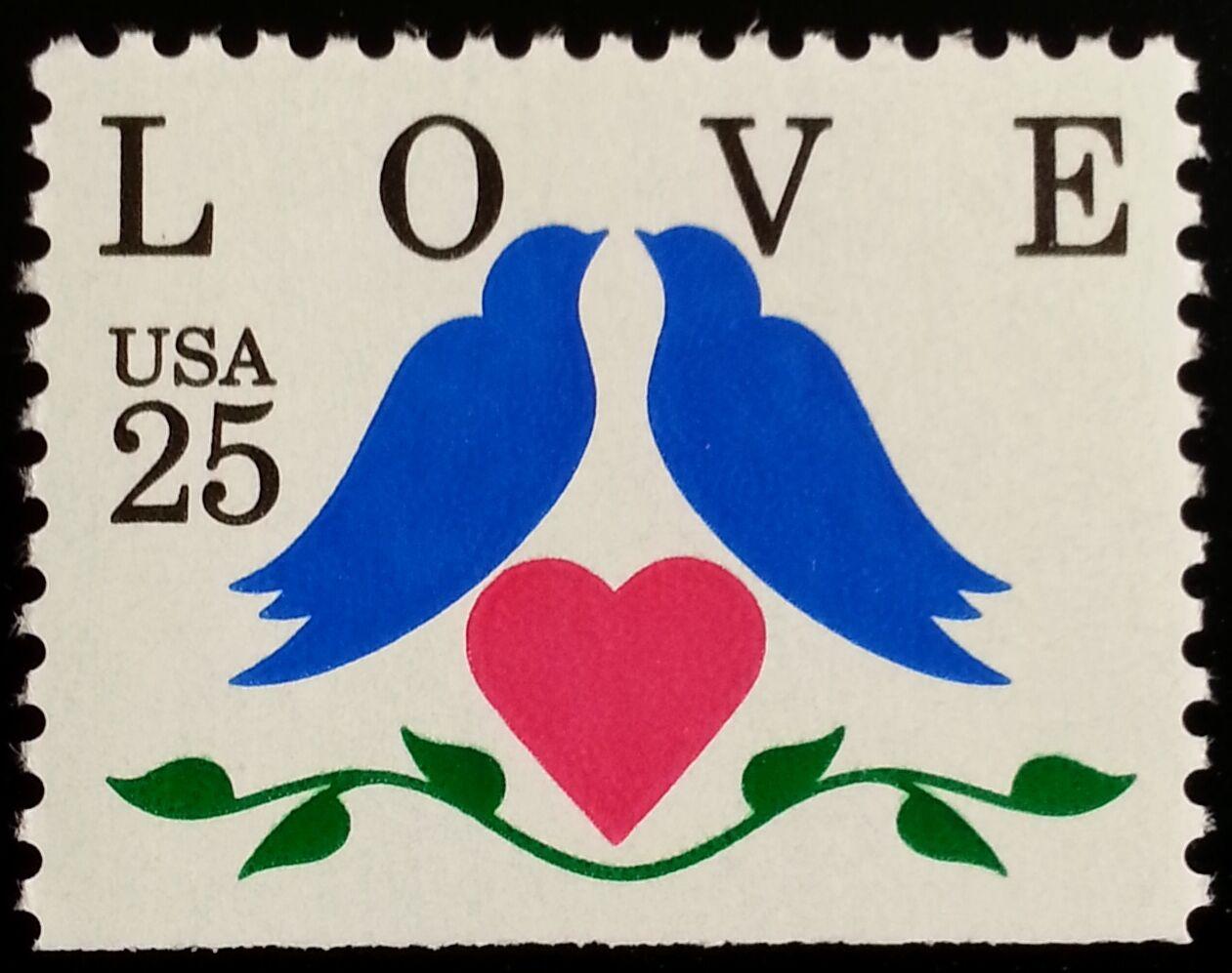 1990 25c Love, Doves Booklet Single Scott 2441 Mint F/V