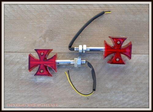 1 Paire de clignotants à LED Croix De Malte  rouge X2pcs moto custom trike