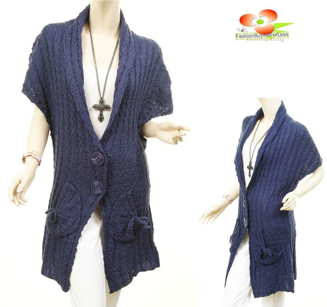 blueE Women Outerwear Wool Knit Cable Ribbed Trench Cardigan Sweater Coat S M L