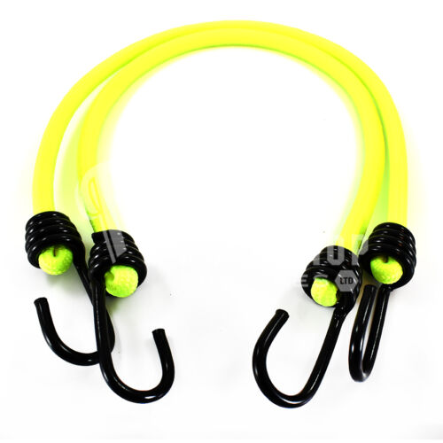 BUNGEE STRAPS SHOCK CORD SPIRAL HOOK ENDS LUMINOUS YELLOW 10mm LUGGAGE ELASTICS