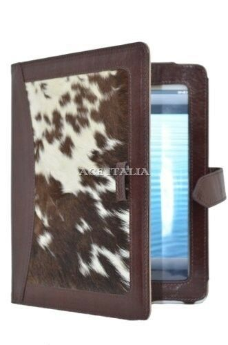 iPAD 2 3 & 4 Brown Cow Skin Fur Luxury Real Genuine Leather Cover Case Stand