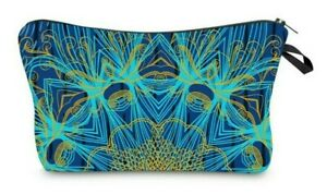 Peacock-Blue-Gold-Cosmetic-Make-up-Bag-034-Aussie-Seller-034-Pencil-Case-Toiletry-Bag