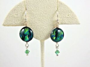 Green-amp-Blue-Dichroic-Glass-Round-Dangle-Sterling-Earrings