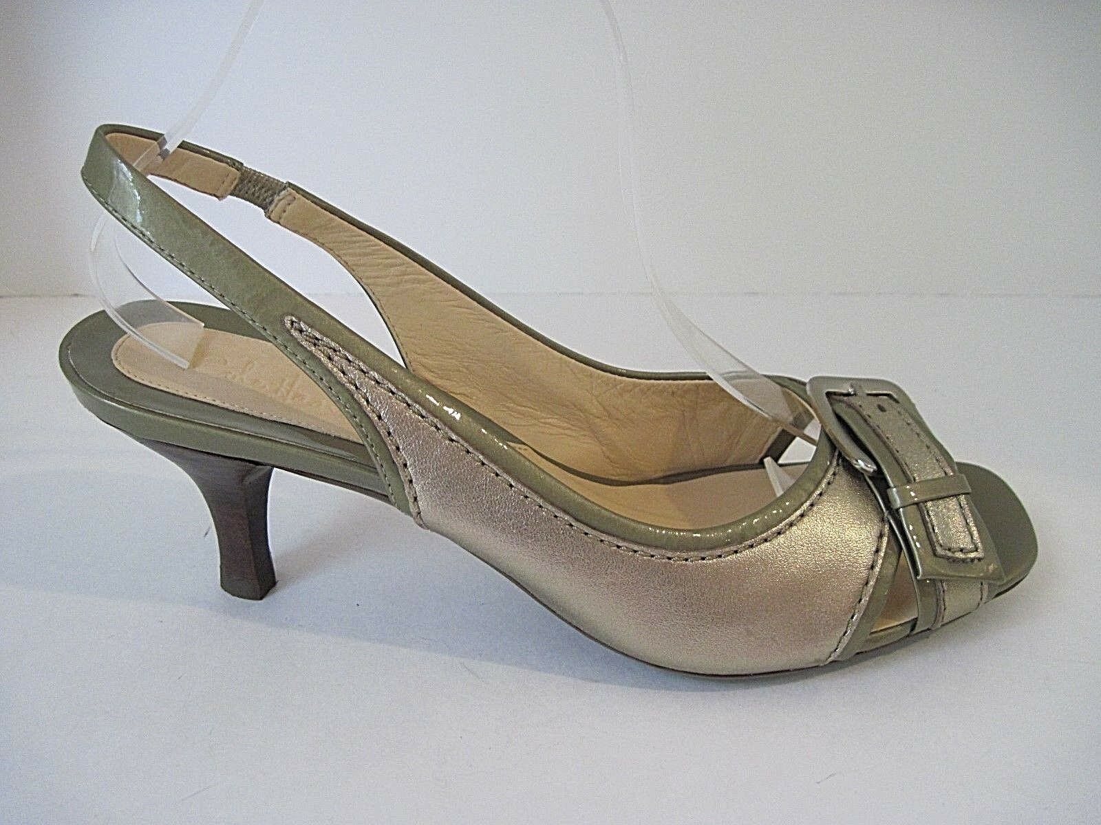 Cole Haan gold Leather  Patent Leather Slingback Open Toe Heels Pumps 9.5B, NEW