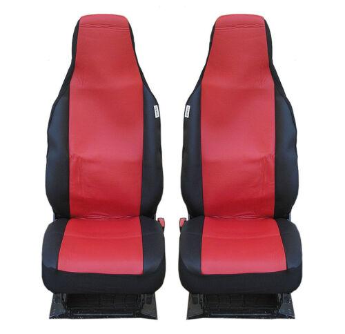 2 Housses de protection sitzbezüg Rouge Noir Haute Qualité Cuir Synthétique Neuf