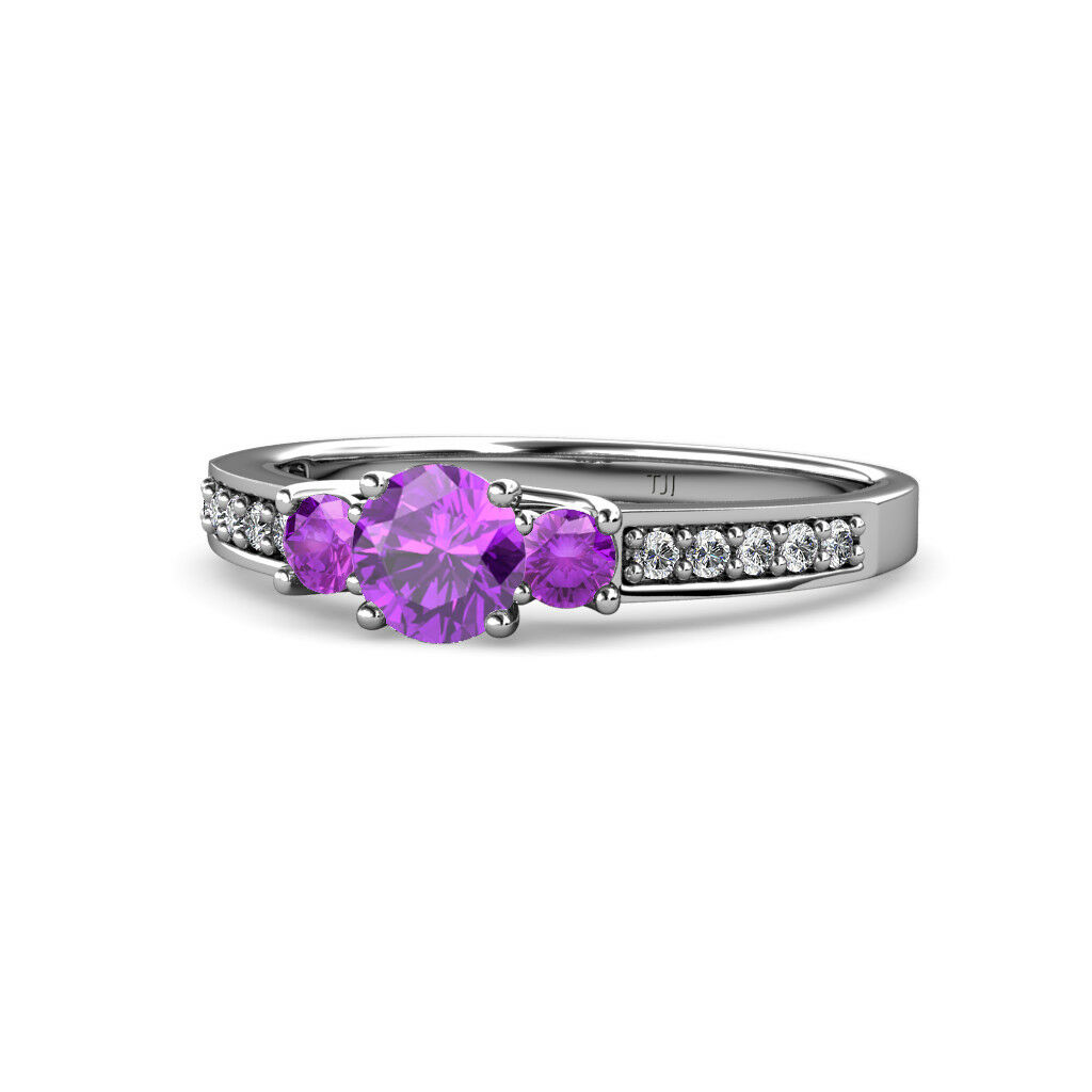 Amethyst Three Stone Ring with Diamond on Side Bar 1.00cttw in 14K gold JP 75875